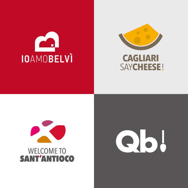 logo Io Amo Belvì, Cagliari Say Cheese, Welcome to Sant'Antioco, Qb!