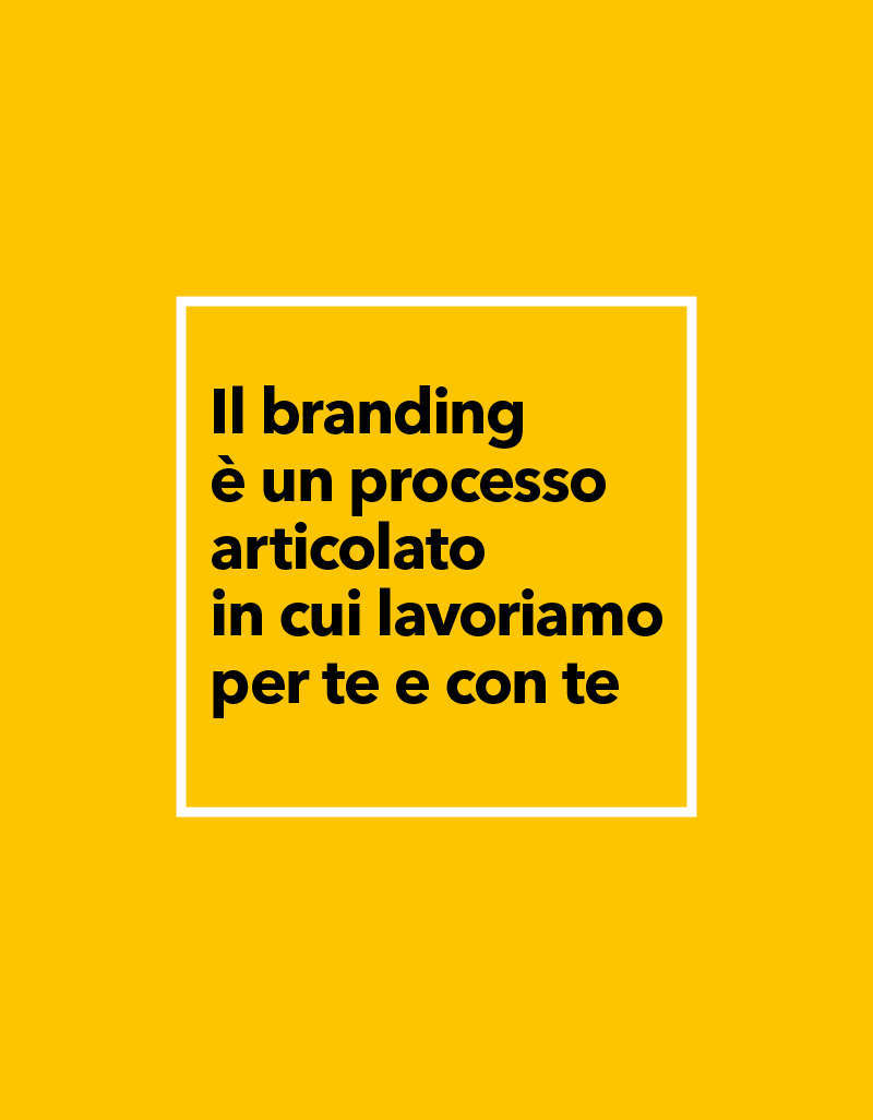 Il branding è un processo articolato fatto di varie fasi in cui lavoriamo per te e con te
